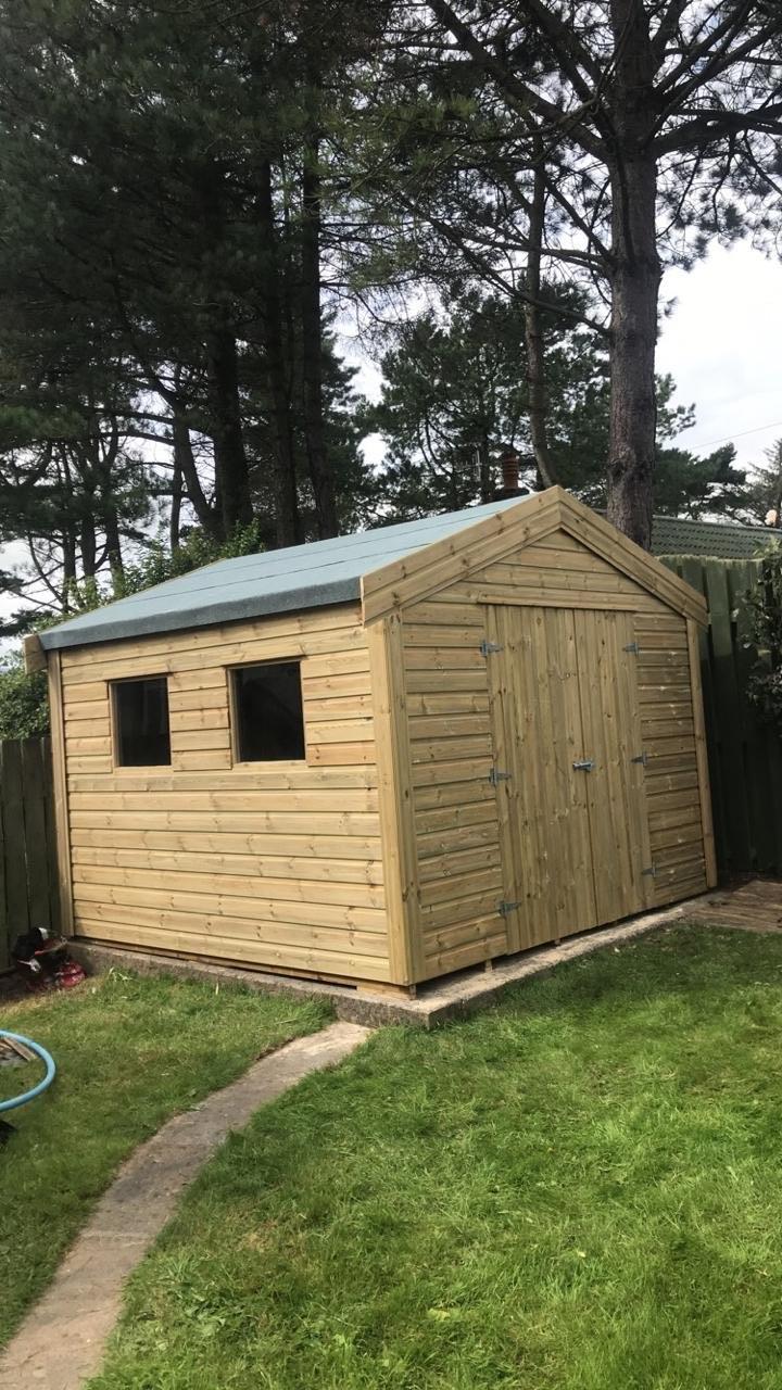 Concrete base shed